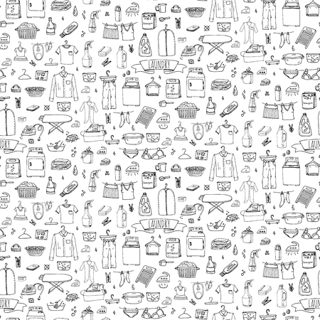 laundry concept: Seamless background hand drawn doodle Laundry set Vector illustration washing icons Laundry concept elements Cleaning business symbols Equipment and facilities for washing, drying and ironing clothes
