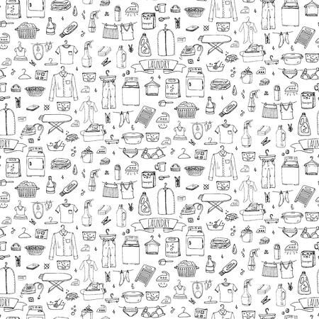 Seamless main doodle dessiné blanchisserie défini les éléments de concept Vector icons illustration de lavage blanchisserie nettoyage symboles d'affaires équipement et les installations pour le lavage, le séchage et le repassage des vêtements Vecteurs
