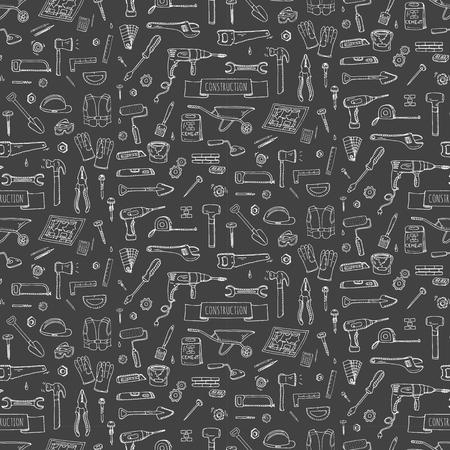 완벽 한 배경 손으로 그린 낙서 건설 도구 집합 벡터 그림 건물 아이콘 집 수리 아이콘 개념 컬렉션 집의 현대 스케치 스타일 레이블 기어 요소, 기