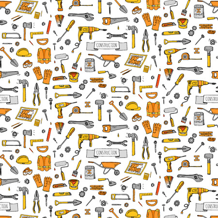 remodel: Seamless background hand drawn doodle Construction tools set Vector illustration building icons House repair icons concept collection Modern sketch style labels of house remodel gear elements, symbols