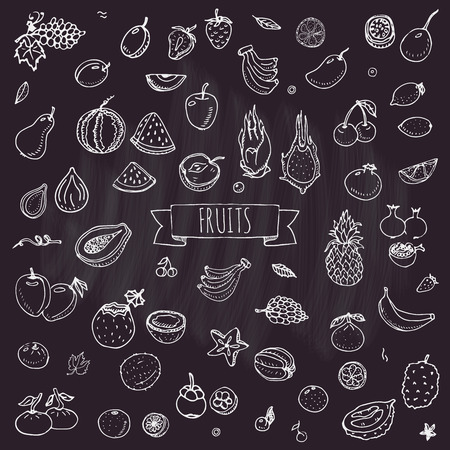 Hand drawn doodle fruits icons set Vector illustration seasonal fruits symbols collection Cartoon different kinds of fruits Various types of tropical fruits on chalkboard background Sketch style