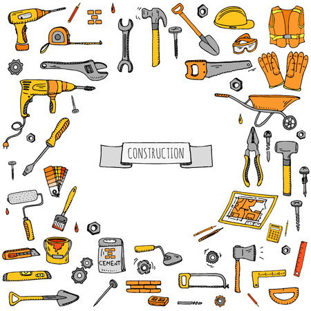 drill bit: Hand drawn doodle Construction tools set Vector illustration building icons House repair icons concept collection Modern sketch style labels of house remodel gear elements and symbols Home repair tool