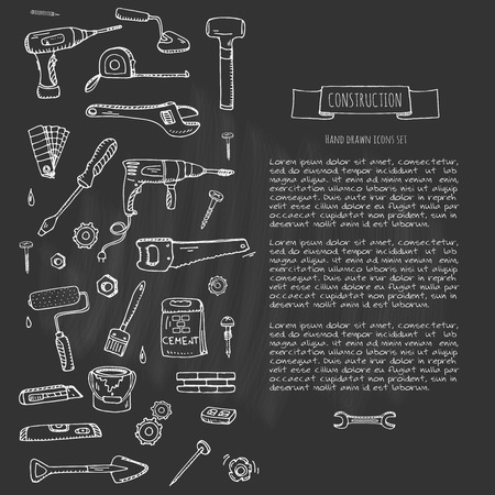 remodel: Hand drawn doodle Construction tools set Vector illustration building icons House repair icons concept collection Modern sketch style labels of house remodel gear elements and symbols Home repair tool