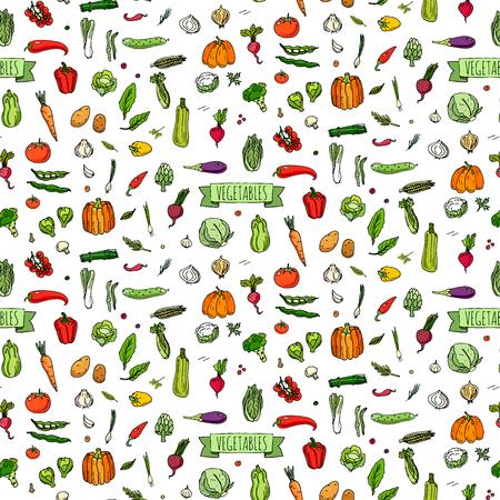 Seamless background hand drawn doodle vegetables icons set Vector illustration seasonal vegetable symbols collection Cartoon different kind of vegetable Various types of vegetables on white background Stock Illustratie