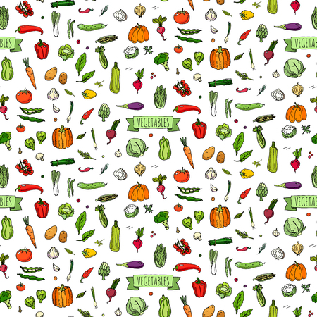 Seamless background hand drawn doodle vegetables icons set Vector illustration seasonal vegetable symbols collection Cartoon different kind of vegetable Various types of vegetables on white background Vettoriali