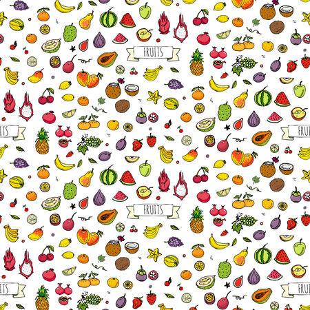 Seamless background hand drawn doodle fruits icons set Vector illustration seasonal fruit symbol collection Cartoon different kind of fruits Various types of tropical fruits on white background Sketch