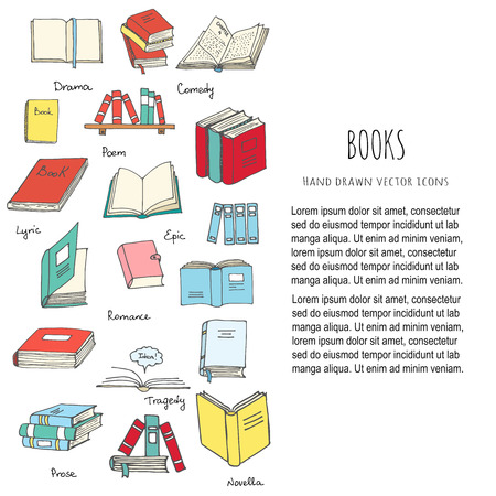 Hand drawn doodle Books Reading set Vector illustration Sketchy book icons elements Vector symbols of reading and learning Book club illustration Back to school Education University College symbols Vettoriali
