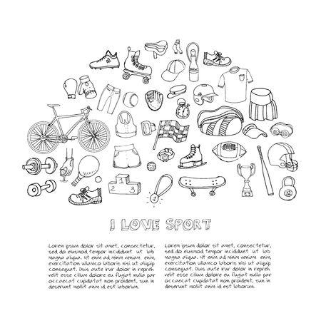 motorized sport: Hand drawn doodle Sport set Vector illustration sport related icons, tennis, golf, baseball, basketball, football, soccer, volleyball, rugby, hockey, fitness, boxing Sport concept collection Sketch Illustration