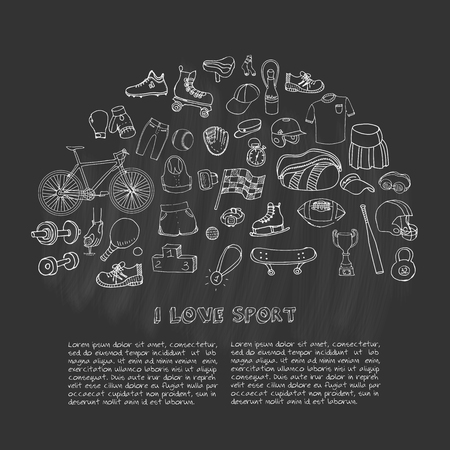motorized sport: Hand drawn doodle sport set. Vector sketchy sport related icons, tennis, golf, baseball, basketball, football, soccer, volleyball, rugby, hockey, fitness, boxing, running, bicycle Illustration