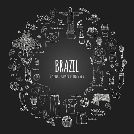cleats: Hand drawn doodle Welcome to Brazil set Vector illustration Sketchy Brazilian traditional icons Cartoon Brazil typical elements collection Landmark Football ball cleats goal Capoeira Samba Orchid Illustration