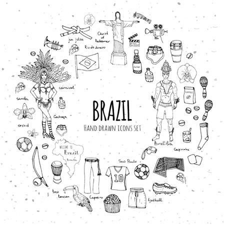 cristo: Hand drawn doodle Welcome to Brazil set Vector illustration Sketchy Brazilian traditional icons Cartoon Brazil typical elements collection Landmark Football ball cleats goal Capoeira Samba Orchid Illustration
