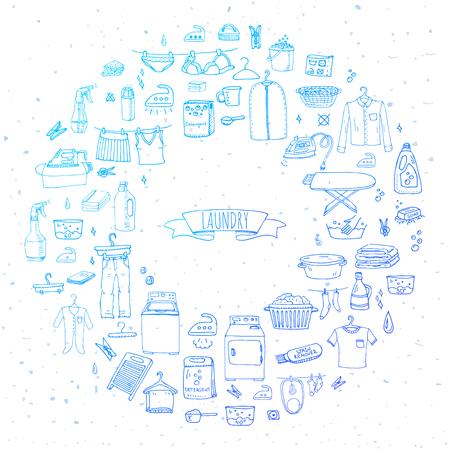 Hand getrokken doodle Wasserij set Vector illustratie wassen pictogrammen Wasserij begrip elementen Reiniging bedrijf symbolen collectie Huishoudelijk apparatuur en faciliteiten voor het wassen, drogen en strijken van kleding Stockfoto - 60009472