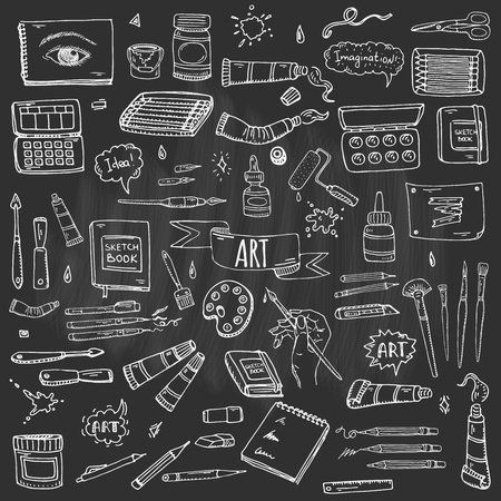 Hand drawn doodle Art and Craft tools icons set Vector illustration art instruments symbols collection Cartoon various art tools Brush Watercolor Paint Artist elements on chalkboard background Sketch