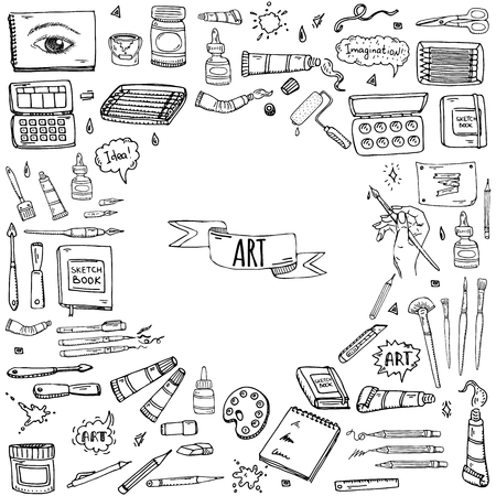Hand drawn doodle Art and Craft tools icons set Vector illustration art instruments symbols collection Cartoon various art tools Brush Watercolor Paint Artist elements on white background Sketch