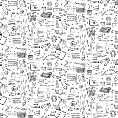 Seamless background hand drawn doodle Art and Craft tools icons set Vector illustration art instruments symbols collection Cartoon various art tools Brush Watercolor Paint Artist elements Sketch
