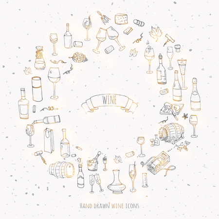 champagne glasses: Hand drawn wine set icons Vector illustration Sketchy wine tasting elements collection Wine objects Cartoon wine symbols Vineyard background Vector wine background Winery illustration Grape Wine glass
