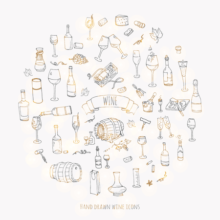 Hand drawn wine set icons Vector illustration Sketchy wine tasting elements collection Wine objects Cartoon wine symbols Vineyard background Vector wine background Winery illustration Grape Wine glass