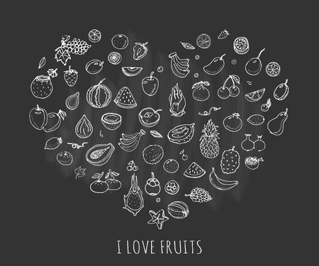 Hand drawn doodle fruits icons set Vector illustration seasonal fruits symbols collection Cartoon different kinds of fruits Various types of tropical fruits on black background Sketch style Fruit Illustration