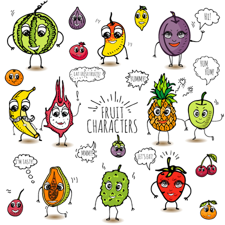 Funny hand drawn fruit characters isolated on white background Fruit and berry characters set Sketch fruit characters vector illustration Cute fruit characters Funny happy faces Cartoon design Diet