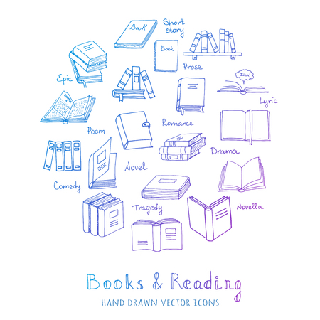 magazine stack: Hand drawn doodle Books Reading set Vector illustration Sketchy book icons elements Vector symbols of reading and learning Book club illustration Back to school Education University College symbols Illustration
