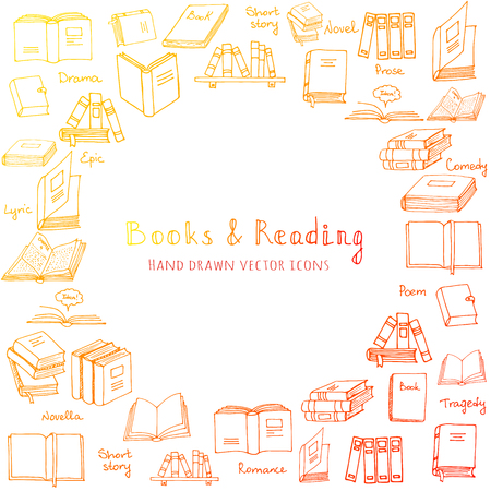 magazine stack: Hand drawn doodle Books and Reading set Vector illustration Sketchy book icons reading books elements Set of books Vector symbols of reading and learning Book club illustration, Education element