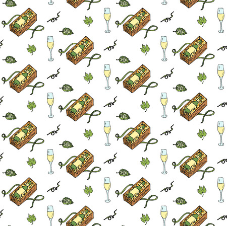 Seamless background hand drawn wine set icons