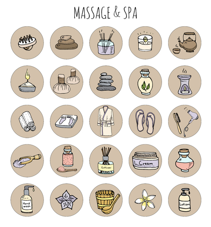 Hand drawn doodle body massage and Spa icon set. illustration relaxing symbols collection Cartoon beauty skin care concept elements Healthcare Wellness treatment Lifestyle Bathrobe Cream Lotion Illustration