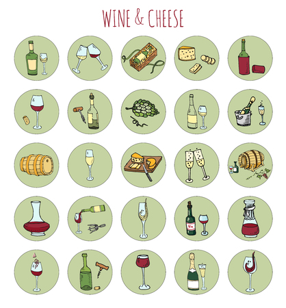 Hand drawn wine and cheese set icons Illustration