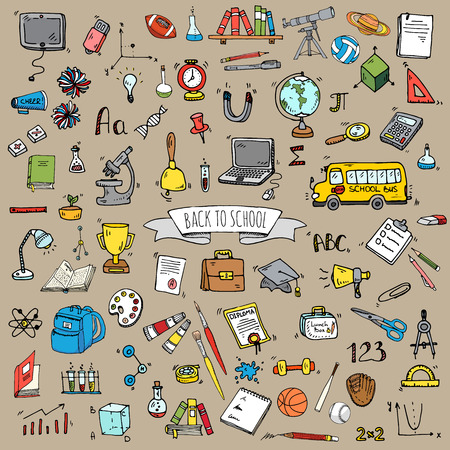 Hand drawn doodle Back to school icons set illustration educational symbols collection Cartoon various learning elements: Laptop; Lunch box; Bag; Microscope; Telescope; Books; Pencil Sketch bus