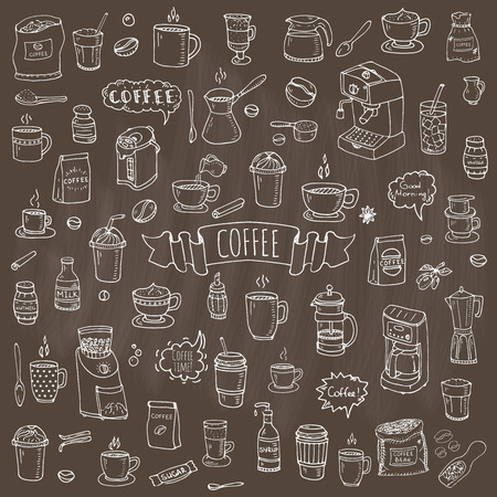 Hand drawn doodle Coffee time icon set illustration isolated drink symbols collection
