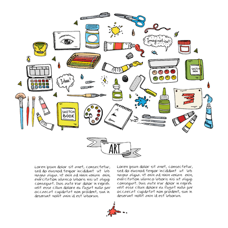 Hand drawn doodle Art and Craft tools icons set Vector illustration art instruments symbols collection Cartoon various art tools Brush Watercolor Paint Artist elements on white background Sketch Vector Illustration