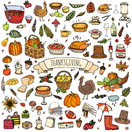 cranberry illustration: Hand drawn doodle Thanksgiving icons set Vector illustration autumn symbols collection Cartoon various celebration elements: turkey, hat, cranberry, vegetables, pumpkin pie, leaves