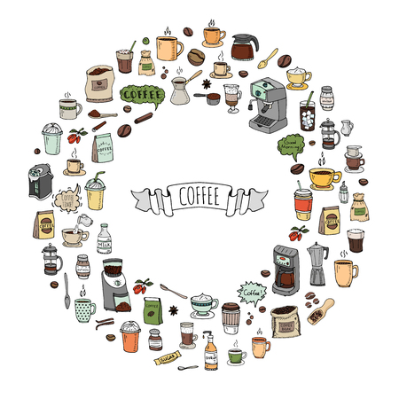 mocha: Hand drawn doodle Coffee time icon set Vector illustration isolated drink symbols collection Cartoon various beverage element: mug, cup, espresso, americano, irish, decaf, mocha, coffee making machine