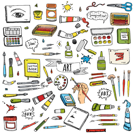 Hand getrokken doodle Art and Craft gereedschappen pictogrammen instellen Vector illustratie art instrumenten symbolen collectie Vaus Cartoon Art gereedschap Brush Aquarel Paint Artist elementen op een witte achtergrond Schets Stock Illustratie