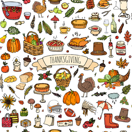 cranberry illustration: Seamless background. Hand drawn doodle Thanksgiving icons. Vector illustration autumn symbols collection. Cartoon various celebration elements: turkey, hat, cranberry, vegetables, pumpkin pie, leaves Illustration