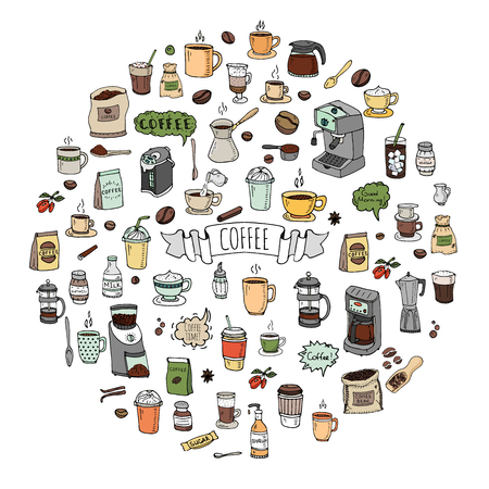 speach: Hand drawn doodle Coffee time icon set Vector illustration isolated drink symbols collection Cartoon various beverage element: mug, cup, espresso, americano, irish, decaf, mocha, coffee making machine