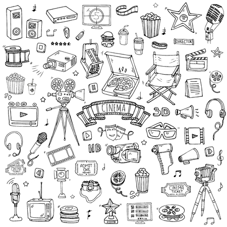 Hand drawn doodle Cinema set. Vector illustration. Movie making icons. Film symbols collection. Cinematography freehand elements: camera, film tape, photo camera, pizza, popcorn, projector, microphone Stock Vector - 60457629