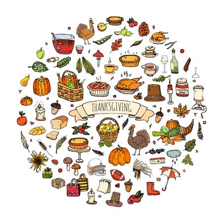Hand drawn doodle Thanksgiving icons set. Vector illustration autumn symbols collection. Cartoon celebration elements: turkey, hat, cranberry, vegetables, pumpkin pie, leaves, cornucopia, basket.