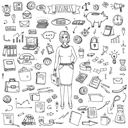 lady clock: Hand drawn doodle Business set. Vector illustration. Finance and communication icons. Economic charts symbols collection. Freehand elements: money, telephone, laptop, bag, arrow, clock. Business lady.