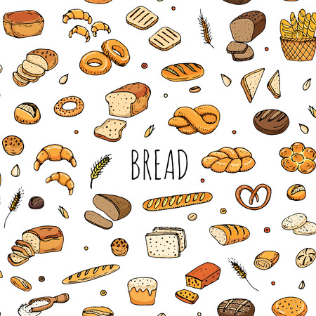 rye bread: Seamless pattern hand drawn doodle of cartoon food: rye bread, whole grain bread, bagel, sliced bread, french baguette, croissant, sandwich. Bread set. Vector illustration. Sketch elements collection. Illustration