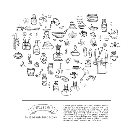body wrap: Hand drawn doodle Body Massage and Spa icon set. Vector illustration. Relaxing symbols collection. Cartoon beauty skin care elements: Bathrobe, Cream, Lotion. Wellness treatment. Healthcare concept.