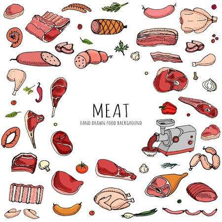 手描き落書き漫画肉や家禽の別の種類を設定します。ベクトル図を設定します。大ざっぱな食糧要素のコレクション: ラム肉、豚肉、ハム、ミンチ、  イラスト・ベクター素材