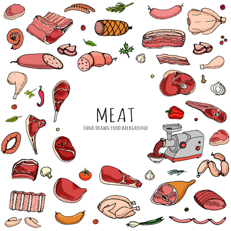Hand drawn doodle set of cartoon different kind of meat and poultry. Vector illustration set. Sketchy food elements collection: Lamb, Pork, Ham, Mince, Chicken, Steak, Bacon, Sausage, Salami, Veggie. Çizim