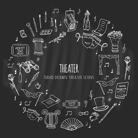 theatrical performance: Hand drawn doodle Theater set. Vector illustration. Sketchy artistic icons. Acting performance elements: Ticket, Masks, Lyra, Flowers, Curtain stage, Musical notes, Pointe shoes, Make-up artist tools.