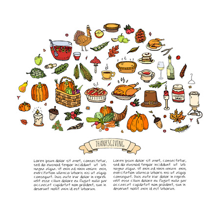 cranberry illustration: Hand drawn doodle Thanksgiving icons set. Vector illustration autumn symbols collection. Cartoon celebration elements: turkey, hat, cranberry, vegetables, pumpkin pie, leaves, cornucopia, basket.