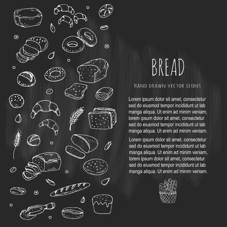 Garabatos dibujados a mano de dibujos animados de alimentos: pan de centeno, chapata, pan de grano entero, bagels, pan de molde, baguette francés, croissant, sándwich, pastel. establece el pan. Ilustración del vector. Colección de los elementos del bosquejo.