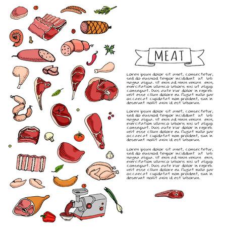 turkey bacon: Hand drawn doodle set of cartoon different kind of meat and poultry. Vector illustration set. Sketchy food elements collection: Lamb, Pork, Ham, Mince, Chicken, Steak, Bacon, Sausage, Salami, Veggie. Illustration