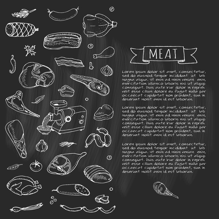 Hand drawn doodle set of cartoon different kind of meat and poultry. Vector illustration set. Sketchy food elements collection: Lamb, Pork, Ham, Mince, Chicken, Steak, Bacon, Sausage, Salami, Veggie. Stock Illustratie