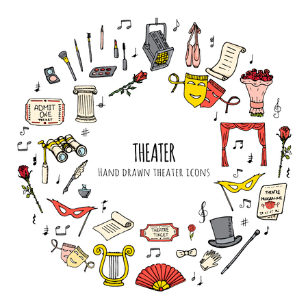stage makeup: Hand drawn doodle Theater set. Vector illustration. Sketchy artistic icons. Acting performance elements: Ticket, Masks, Lyra, Flowers, Curtain stage, Musical notes, Pointe shoes, Make-up artist tools.