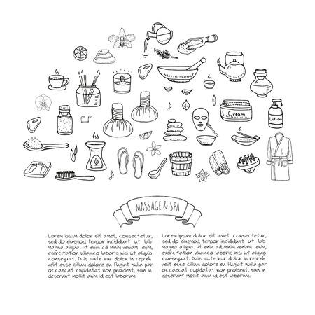 Hand getrokken doodle Body Massage & Spa icon set. Vector illustratie. Ontspannen inzameling van symbolen. schoonheid Cartoon huidverzorging elementen: Badjas, crème, lotion. Wellness-behandeling. concept van de gezondheidszorg.